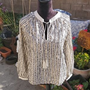 Indian cotton sequined peasant top, NWT'S